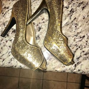 Gold glittered shoes